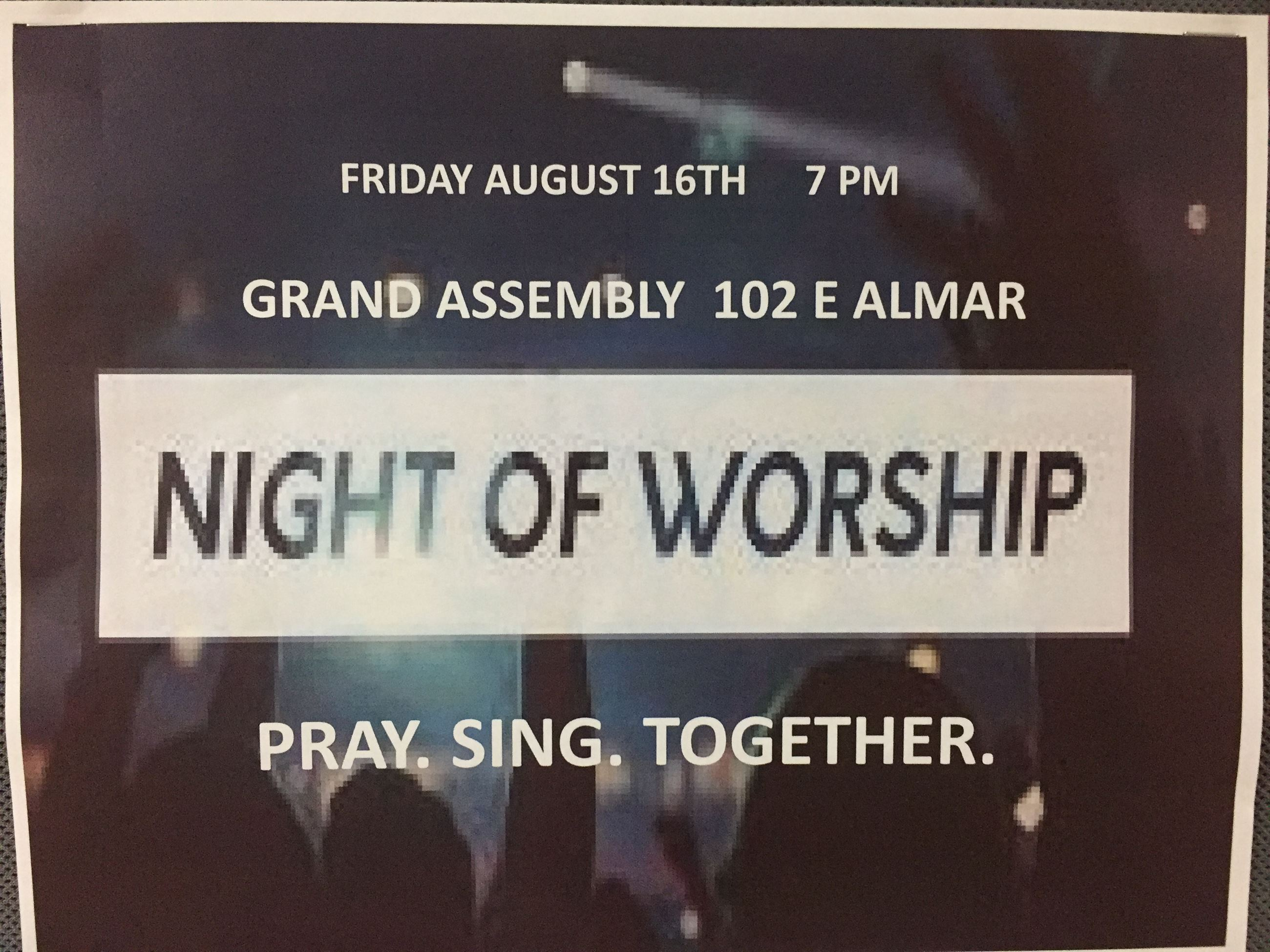WORSHIP NIGHT FRIDAY AUG 16, 2019
